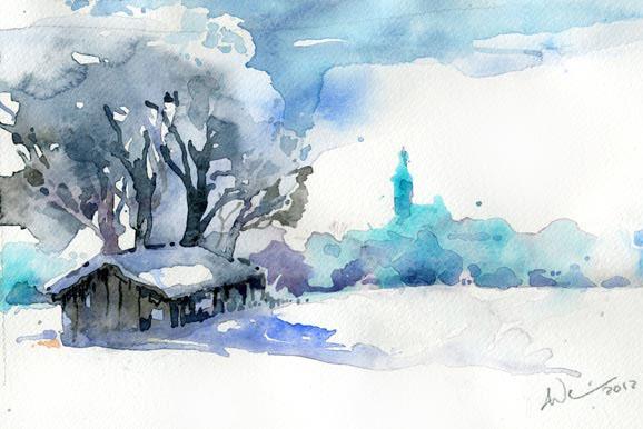 Kloster, Aquarellmalerei, Andechs, München, Aquarell,