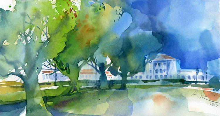 Schloss, Nymphenburg, München, Baum, Aquarell,