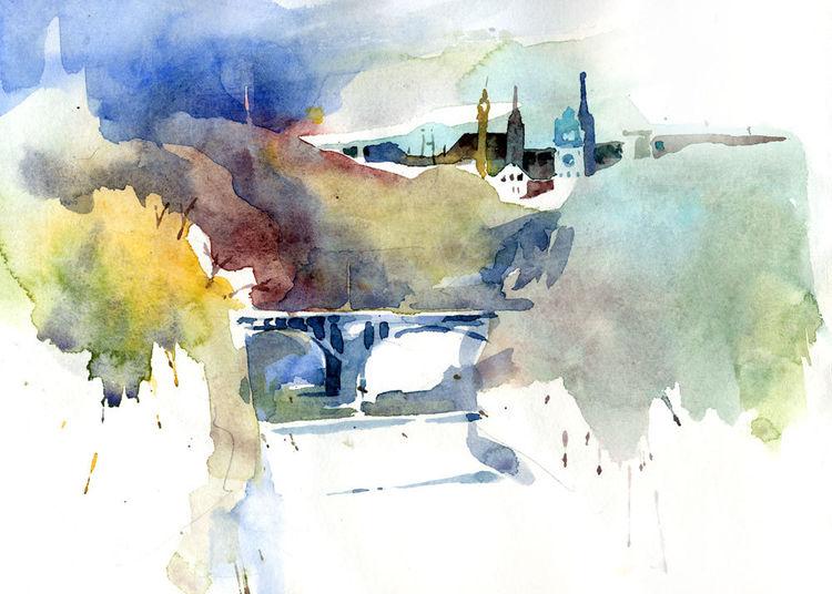 Aquarellmalerei, Isar, Müllersches volksbad, München, Aquarell