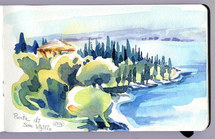 Gardasee, Italien, Vigilio, Aquarellmalerei, Aquarell,