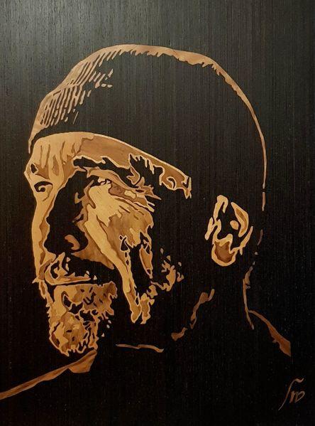 Holz, Portrait, Furnier, Marketerie, Verblendung, Kunsthandwerk