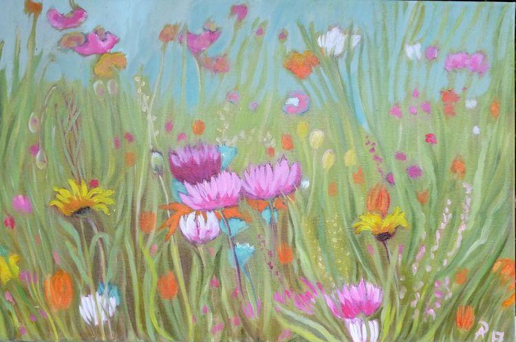 Bunt, Grün, Blumen, Wiese, Malerei, Pflanzen