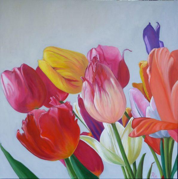 Bunt, Blüte, Blumen, Tulpen, Malerei