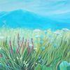 Blumenwiese, Ölmalerei, Hellblau, Landschaft
