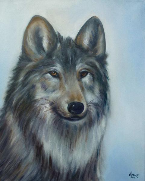 Tierportrait, Wolf, Tiere, Malerei