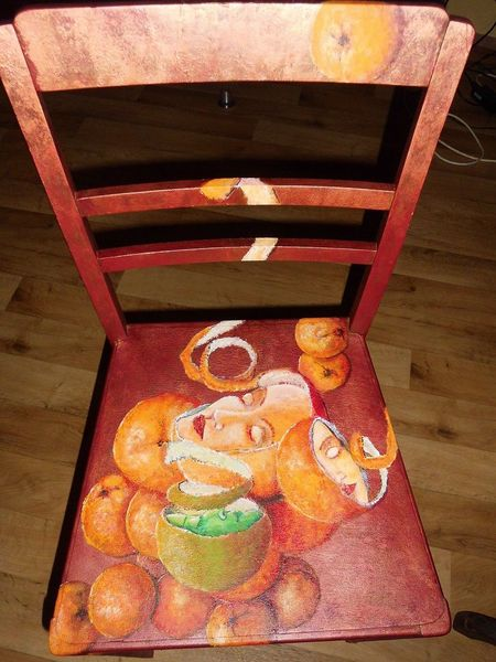 Mischtechjnik, Bemalte stühle, Apfelsinen, Möbelmalerei, Acrylmalerei, Frau