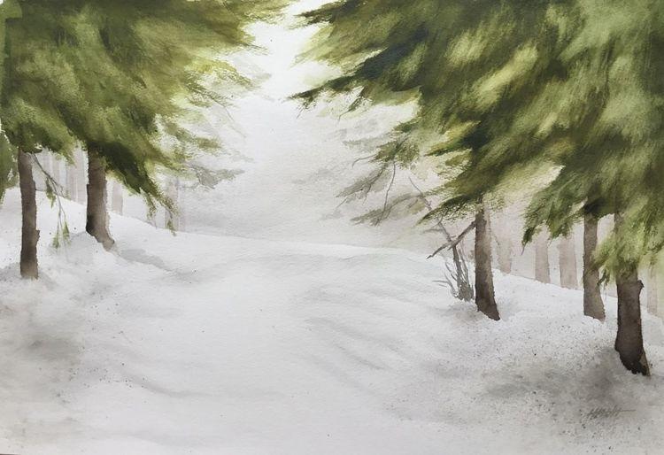 Schnee, Tannenwald, Winter, Nebel, Winterwald, Aquarell