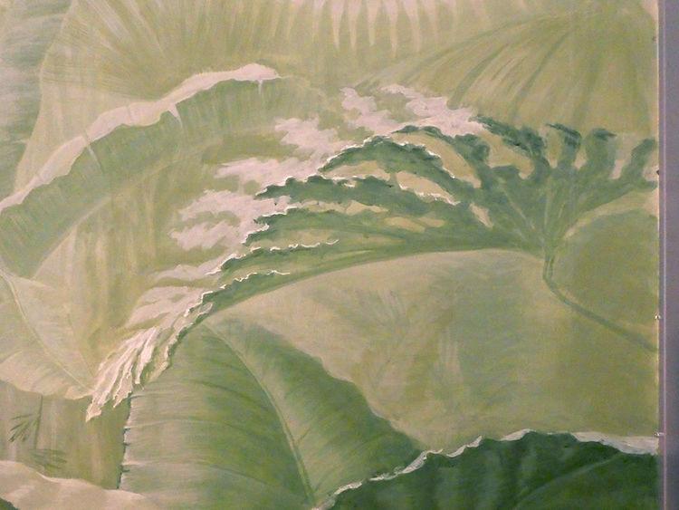 Fragment eines wandbildes, Landschaft, Wandmalerei, Modern, Raum, Gegenständlich