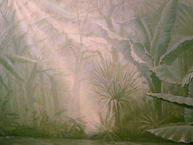 Landschaft, Raum, Wandmalerei, Technik, Modern, Fresko