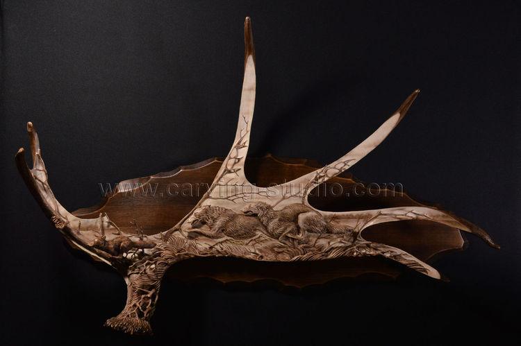 Skulptur, Schnitzkunst, Horn, Holz, Elch, Kunsthandwerk