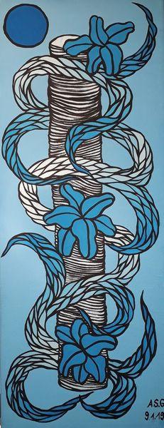 Pinsel, Malerei, Schlange, Umhüllen, Blautöne, Abstrakt