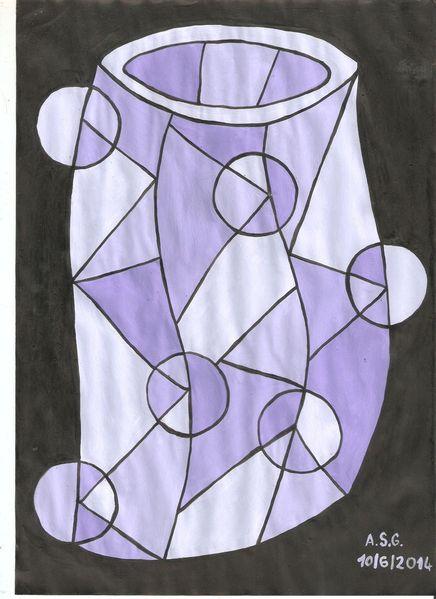 Temperamalerei, Krug, Dispersion, Formen, Scherbe, Blau