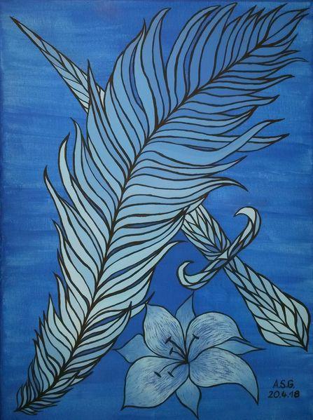 Feder, Malerei, Nacht, Pinsel, Abstrakt, Blautöne