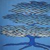 Baum, Malerei, Blau, Blautöne