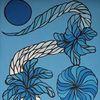 Nacht, Blautöne, Abstrakt, Feder