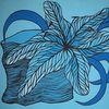 Blüte, Blau, Acrylmalerei, Stein