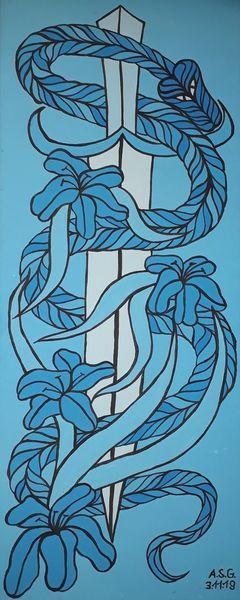 Ranken, Malerei, Schlange, Acrylmalerei, Blüte, Pinsel