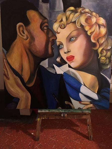 Lempicka, Hommage, Frau, Mann porträt, Malerei,