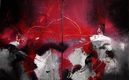 Abstrakt, Rot, Malerei,