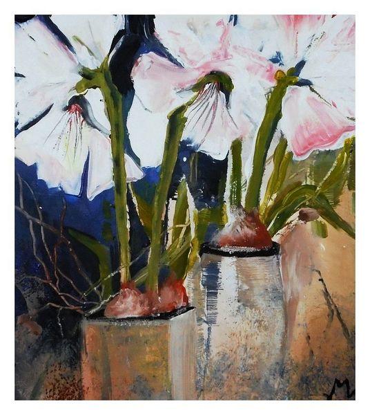 Weiß, Blumen, Malerei, Amaryllis,