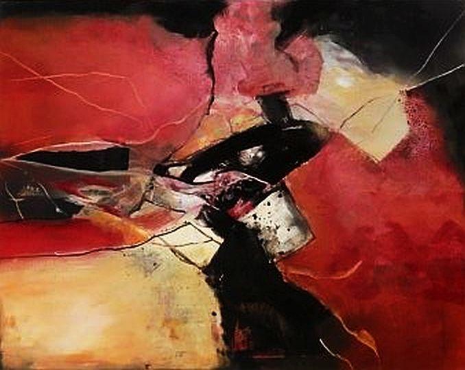 Rot, Abstrakt, Acrylmalerei, Malerei, Fantasie,