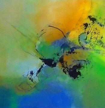 Blau, Acrylmalerei, Fantasie, Abstrakt, Grün, Malerei