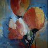 Blau, Abstrakt, Blatt und blüte, Gelb