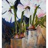 Weiß, Blumen, Malerei, Amaryllis