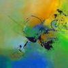 Abstrakt, Grün, Blau, Acrylmalerei