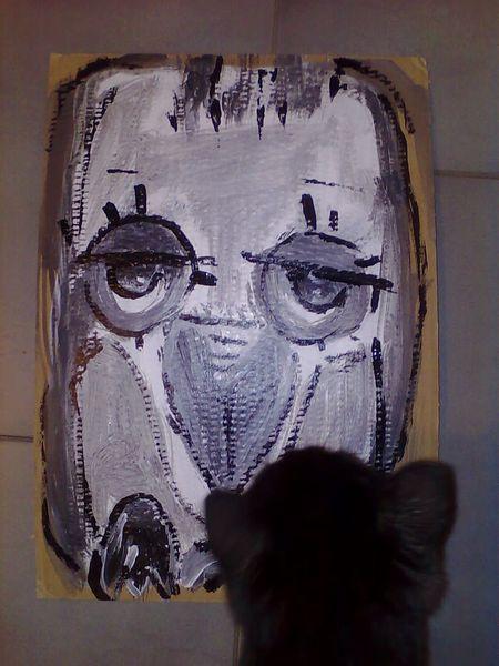 Vogel, Kater, Malerei, Betrachtung