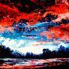Ölfarben, Landschaft, Spachteltechnik, Malerei