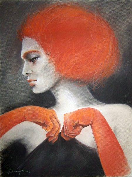 Porträtmalerei, Rothaarig, Portrait, Model, Grau, Rot schwarz