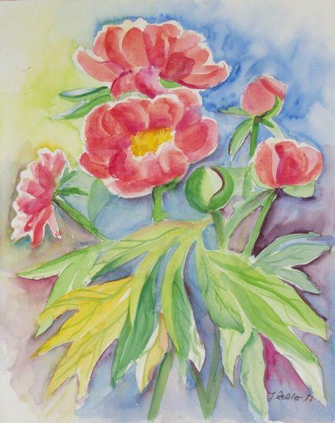 Komposition, Blumen, Blüte, Pfingstrosen, Aquarell,