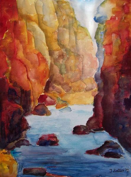 Partnachklamm, Wasser, Schlucht, Impressionismus, Aquarell