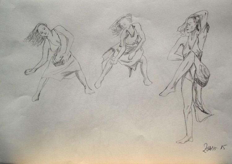 Tänzerinnen, Ausdruckstanz, Bleistiftzeichnung, Moderner tanz, Zeichnungen