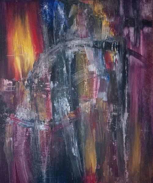 Spachtel, Dunkel, Abstrakt, Malerei