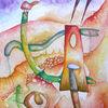 Landschaft, Starke farbigkeit, Aquarellmalerei, Abstrakt