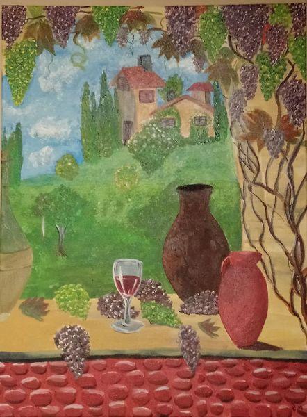 Fenster, Toskana, Weintrauben, Wein, Mediterran, Malerei