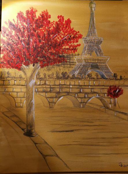 Brücke, Baum, Schwarz, Eiffelturm, Rot, Malerei