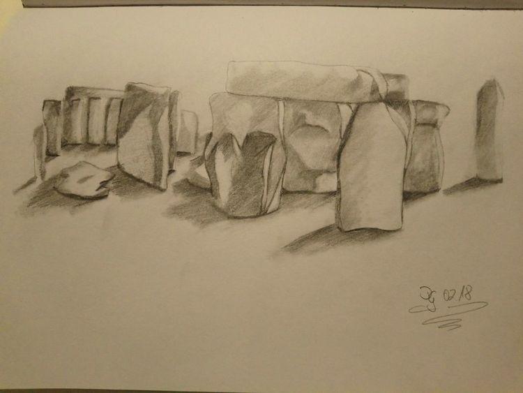 Bleistiftzeichnung, Landschaft, Stonehenge, Zeichnungen