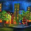 Stadt, Acrylmalerei, Abstrakte bilder, Hochhaus