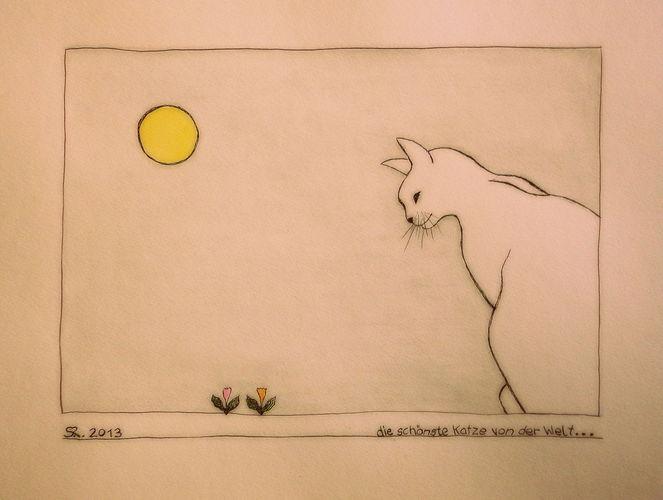 Zeichnung, Farben, Aquarellmalerei, Zeichnungen, Katze, Welt