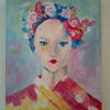 Acrylmalerei, Malerei, Portrait, Kimono