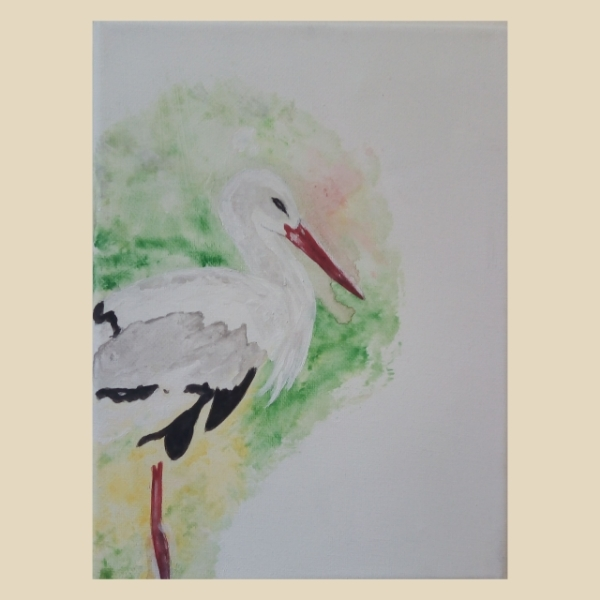 Storch, Hochformat, Vogel, Adler, Malerei,
