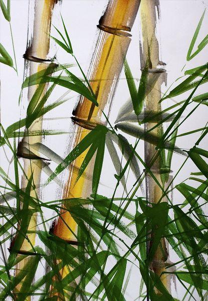 Blätter, Stängel, Bambus, Malerei