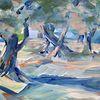 Baum, Landschaft, Malerei, Toskana