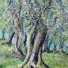 Olivenbaum, Toskana, Herbst, Malerei