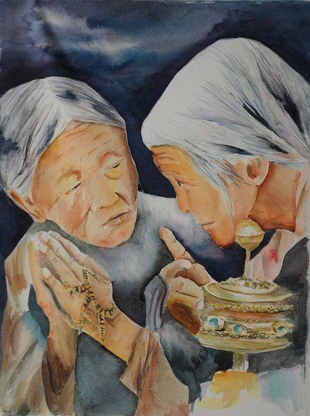 Religion, Portrait, Tibeter, Figural, Aquarell karin lamprecht, Malerei