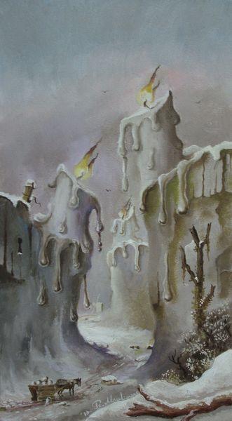 Romantik, Realismus, Tal, Landschaft, Winter, Pferde