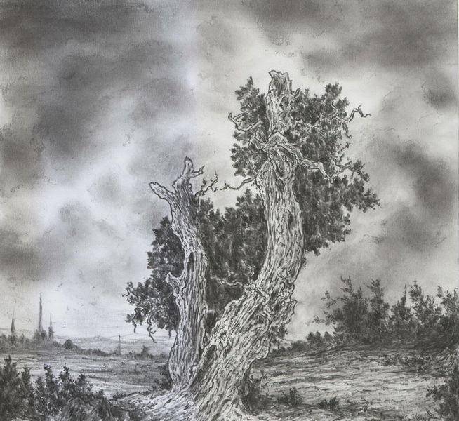 Baum, Romantik, Alte meister, Wolken, Landschaft, Himmel